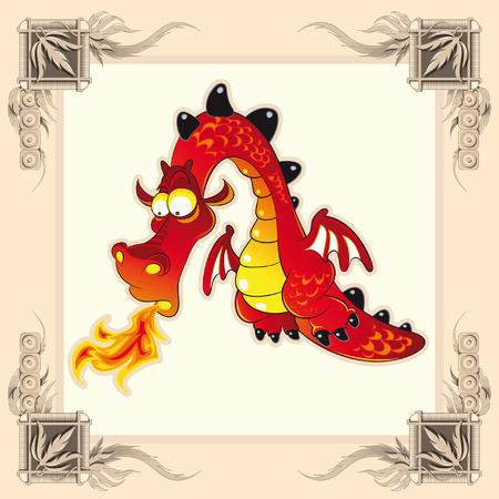castillos de princesas: Dragon divertido. Ilustraci�n de dibujos animados y vector