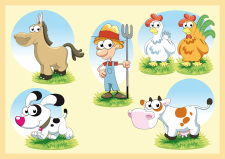 young cow: Farm Family. Cartoon and vector illustration