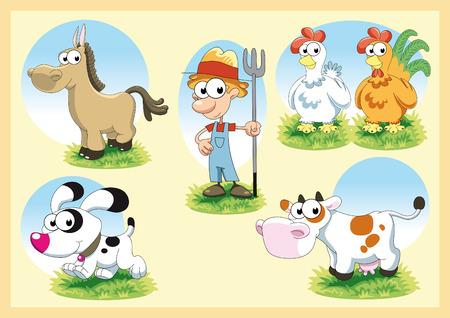 dachshund: Farm Family. Cartoon and vector illustration