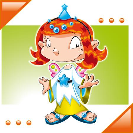 Little Dirl dressed Fairy. Cartoon and vector illustration Stock Vector - 5877611