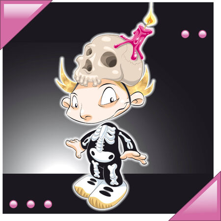 Little Boy dressed Skeleton. Cartoon and vector illustration Stock Vector - 5877613