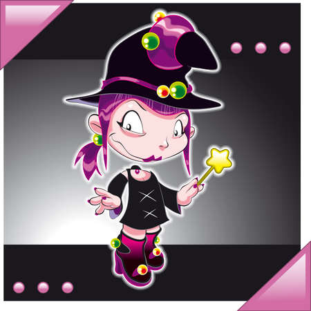 Little Girl dressed Witch. Cartoon and vector illustration Vector