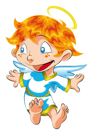 Little Angel. Cartoon and vector characters. Vector