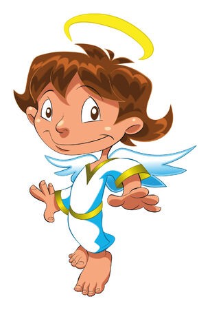 adolescent: Little Angel. Cartoon and vector characters.