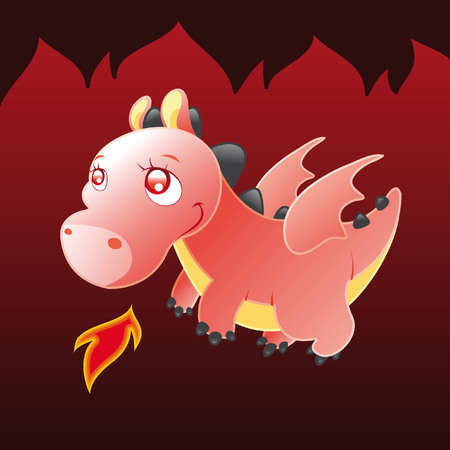 Little Dragon. Cartoon and vector illustration. Vector