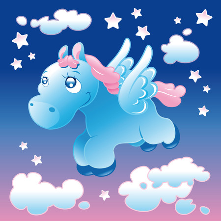 softly: Little Pegasus. Cartoon and vector illustration.