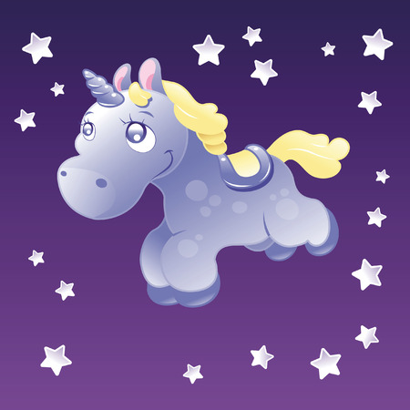 Little Unicorn in the sky. Cartoon and vector illustration. Stock Vector - 5877599