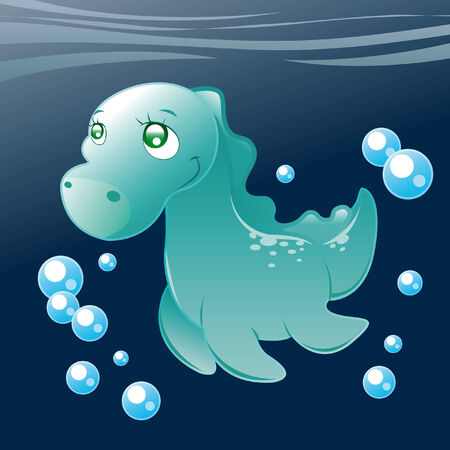 Little Nessy. Cartoon and vector illustration. Vector