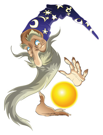 sorcerer: Magician with his sphere. Cartoon and vector character.