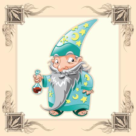 castello medievale: Divertente mago. Cartoni animati e vettoriale illustrazione. Vettoriali