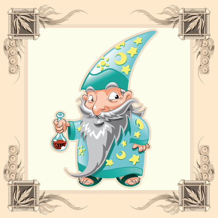 medieval castle: Funny Magician. Cartoon and vector illustration.