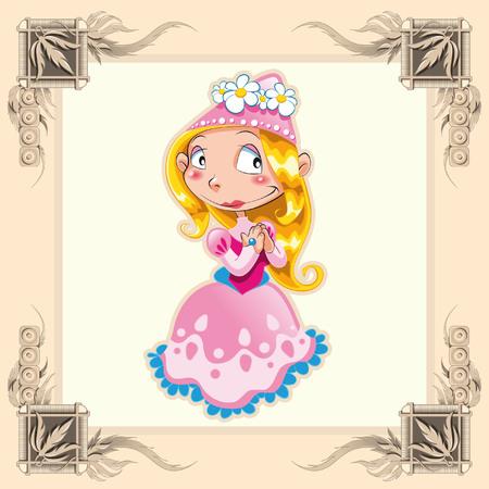 castillos de princesas: Princesa divertida. Ilustraci�n de dibujos animados y vector.