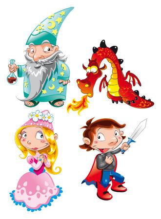 Vector character- Medieval Age - Princess, Prince, Dragon, Magician Vector