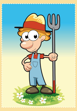 tenderly: Peasant. Cartoon and vector illustration.