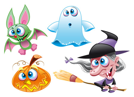 cartoon witch: Vector Characters - Halloween - Witch, Ghost, Bat, Pumpkin Illustration