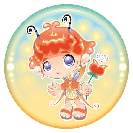 fee zauberstab: Baby Fairy. Cartoon und illustration