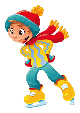 Young ice skater. Funny cartoon and vector character. Illustration