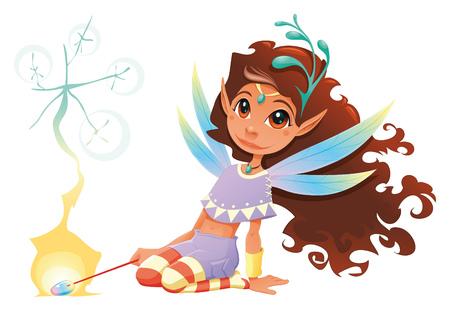 fee zauberstab: Fairy das M�dchen mit dem Zauberstab. Cartoon und Zeichen. Illustration