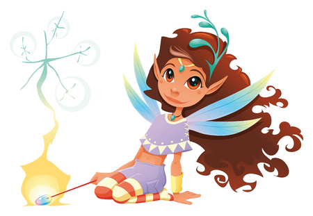 Fairy girl with magic wand. Cartoon and character. Vector