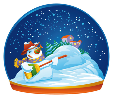 Snowman. Funny cartoon and vector isolated illustration. Vector