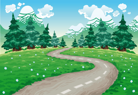 Landscape in nature. Cartoon and illustration. Vector