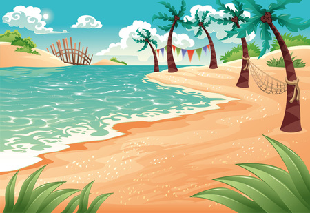Cartoon seascape. illustration. Summer scene. Stock Vector - 5999501