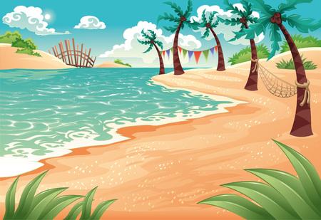 playa caricatura: Mar de dibujos animados. ilustraci�n. Escena de verano.