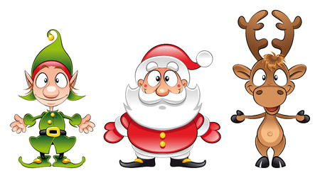 elf: Santa claus, Elf, Rudolph. Cartoon and vector Christmas characters