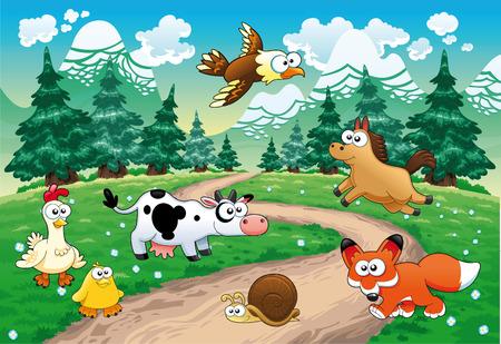 작은 숲: Family of animals with background. Funny cartoon and vector illustration 일러스트