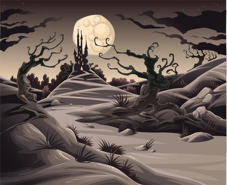 arboles caricatura: Paisaje de horror. Ilustraci�n de dibujos animados y vector.
