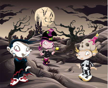 Horror landscape with characters. Cartoon and vector illustration. Vector