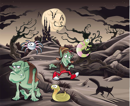 Horror landscape with characters. Cartoon and vector illustration. Illustration