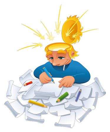 건축가: Young designer. Funny cartoon character.