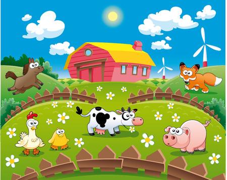 cow farm: Illustrazione di fattoria. Divertente cartone animato