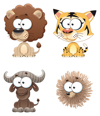 Funny Animal of Africa. Cartoon characters. Vector