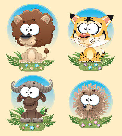 Funny Animal of Africa. Cartoon characters with background. Vector