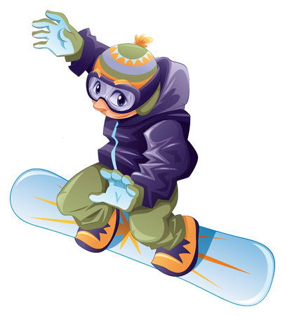 snowboarding: Young snowboarder. Vector and cartoon sport character. Illustration