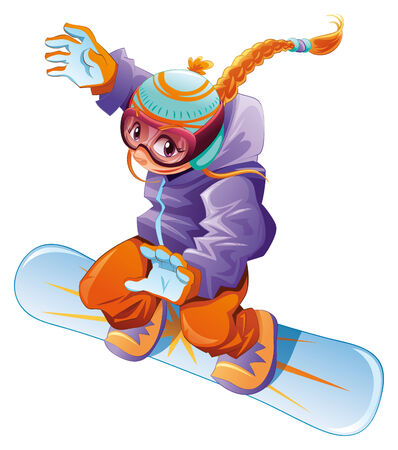 Young snowboarder girl. Vector cartoon sport character. Illustration