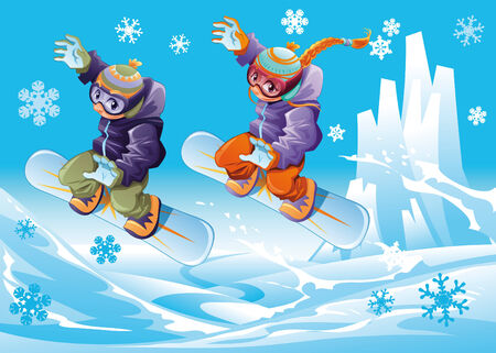 Snowboarding together. Funny cartoon and vector sport illustration. Vector