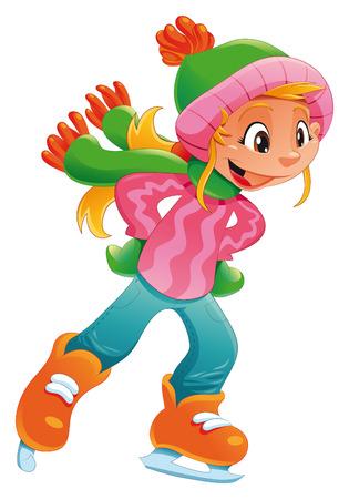 Chica joven patinador de hielo. Divertido personaje de dibujos animados y vector. Foto de archivo - 6173207