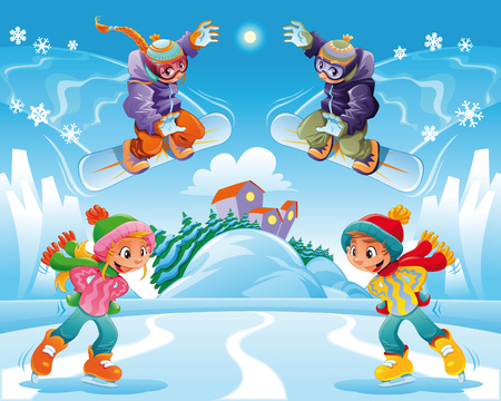 winter scene: Winter scene. Funny cartoon and vector illustration.