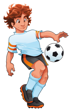 Soccer Player. Cartoon and vector sport character.