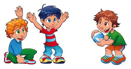 pelota caricatura: Tres ni�os est�n jugando. Personajes de dibujos animados divertido