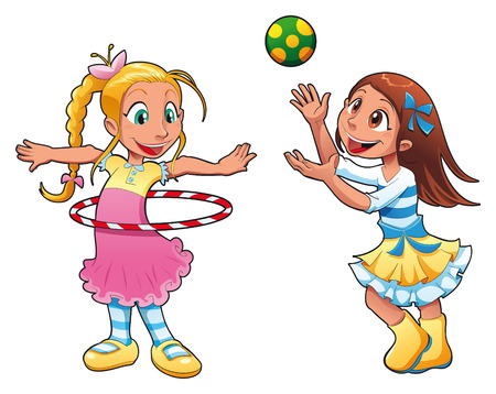 Two girls are playing. Funny cartoon characters Illustration