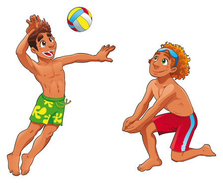 balon de voley: Beach Volley. Divertidos personajes de dibujos animados y el deporte. Vectores