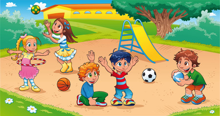 Kids in the playground. Funny cartoon and scene. Vector