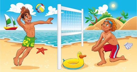 Beach Volley scene. Funny cartoon and sport illustration. Vector