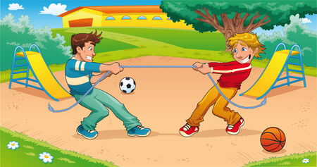pulling rope: Tug of war with background. Funny cartoon and illustration. Illustration