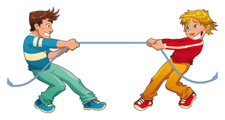 pull: Tug of war. Funny cartoon and young characters.