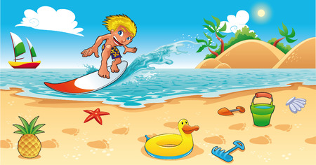 beach game: Surfing in the sea. Funny cartoon and illustration.